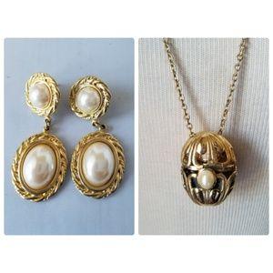 Avon Vintage Pendant Necklace & Matching Earrings